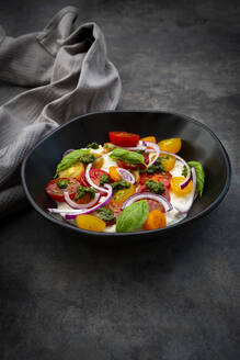 Cottage cheese with colorful cocktail tomatoes, red onion and pesto - LVF08303