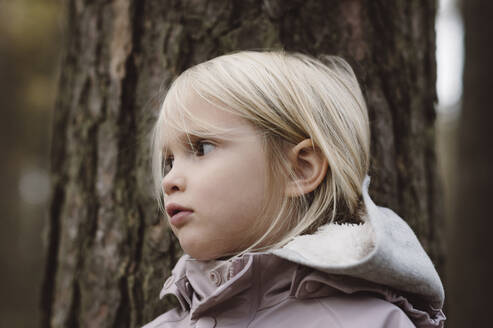 Portrait of blond little girl in front of tree trunk - EYAF00484