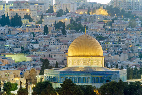 Dome of the Rock and buildings in the Old City at dusk, Jerusalem - CAVF64509