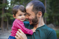 Portrait of happy father with little daughter, Yosemite National Park, California, USA - GEMF03203