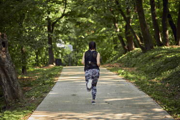 Rear view of sporty young woman running on forest path - ZEDF02628
