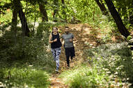 Sporty couple running on forest path - ZEDF02634
