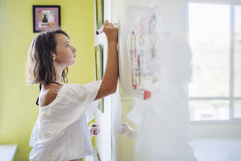 Portrait of smiling girl drawing on a whiteboard - DLTSF00222