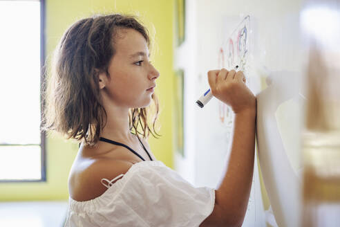 Portrait of smiling girl drawing on a whiteboard - DLTSF00225