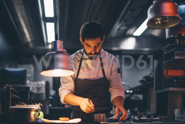 Chef serving food on plates in the kitchen of a restaurant - CJMF00105 - Jesús Martinez/Westend61