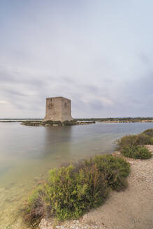 Spain, Alicante, Santa Pola, TamaritTower at dusk - DLTSF00247