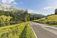 Austria, Carinthia, Scenic view of empty road in forested valley ofCarnicAlps in summer - AIF00688
