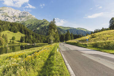Austria, Carinthia, Scenic view of empty road in forested valley of Carnic Alps in summer - AIF00688
