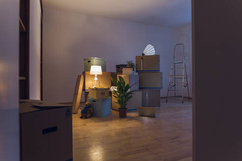 Cardboard boxes in an empty room in a new home - MAMF00803