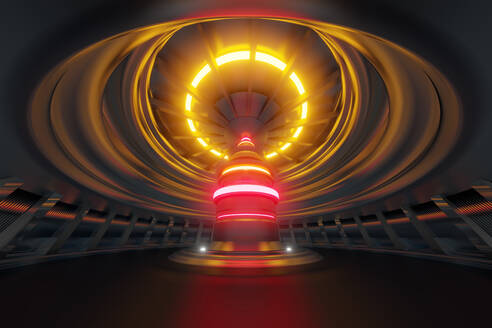 3D Rendered Illustration, visualisation of a science fiction Interior of a Reactor or energy creating industrial device. - SPCF00465