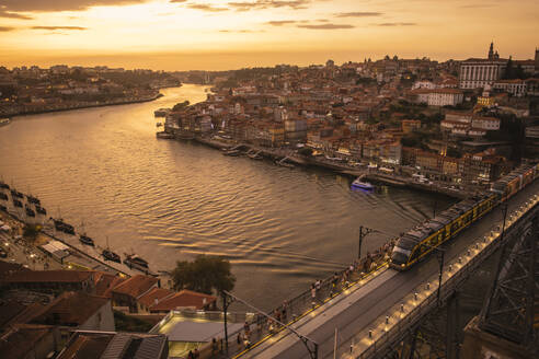 Panoramic view of Porto with Ponte Dom Luis Iat sunset, Portugal - AHSF00869