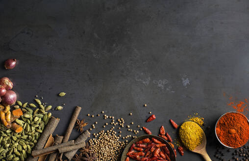 Spices on grey background - JOHF04227
