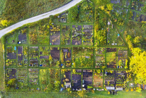 Germany, Bavaria, Geretsried, Aerial view of rows of green countryside gardens - SIEF09166