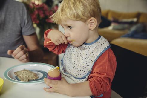 Blond little boy eating breakfast egg - MFF04887