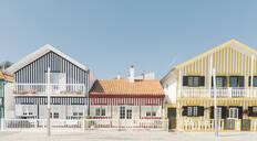 View of striped houses, Costa Nova, Portugal - AHSF00958