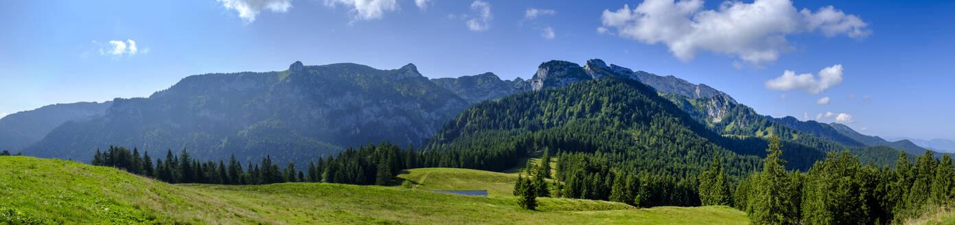 Benediktenwand vom Längenberg, bei Arzbach, Isarwinkel, Oberbayern, Bayern, Deutschland - LBF02737