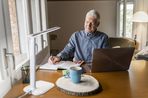 Senior man sitting at home in front of laptop making notes in notebook - AFVF04110