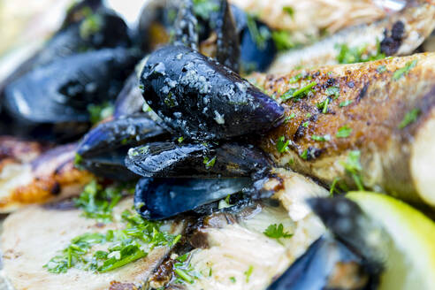 Croatia, Split, Close-up of ready to eat mussels - NGF00536