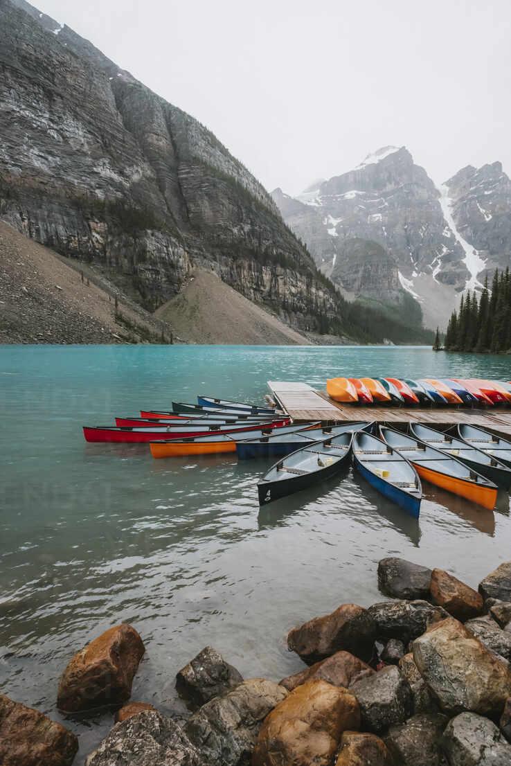 canoe dock, Moraine Lake, Banff National Park, Alberta