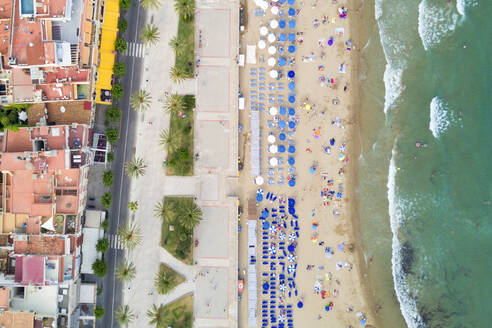 Aerial view of Sitges, coastal town in Spain's Catalonia region. - AAEF04560