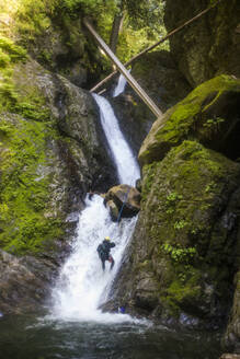 Man rappels a series of waterfalls in Frost Creek Canyon. - CAVF65802
