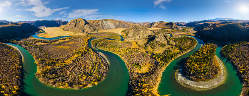 Aerial view of Chuya river crossing landscape, Russia. - AAEF04859