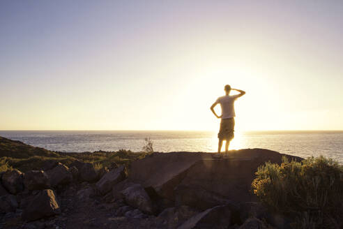 Rear view of man on viewpoint, Valle Gran Grey, La Gomera, Canary Islands, Spain - MAMF00907