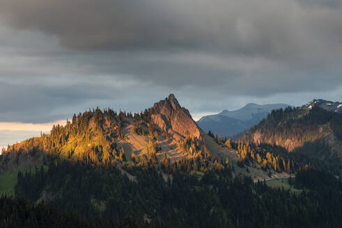 Evening light on mountain peaks, view from Hurricane Ridge, Olympic National Park, UNESCO World Heritage Site, Washington State, United States of America, North America - RHPLF12463