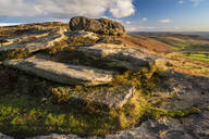 View from Stanage Edge, evening light in autumn, Peak District National Park, Derbyshire, England, United Kingdom, Europe - RHPLF12565