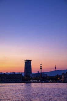 View of the city Barcelona at sunset, Spain - MOSF00118