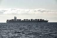Spain, Andalucia, Tarifa, Freight ship in Strait of Gibraltar - KBF00618