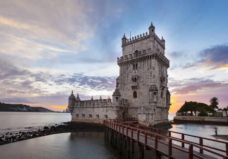 Torre de Belém at sunset, Lisbon, Portugal - CUF52679