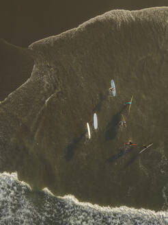 Aerial view of surfers at the beach - CAVF66085