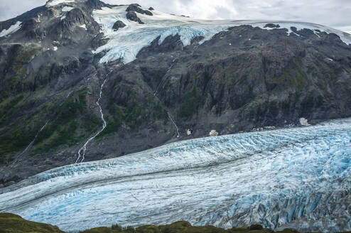 High angle scenic view of glacier against mountain - CAVF67215