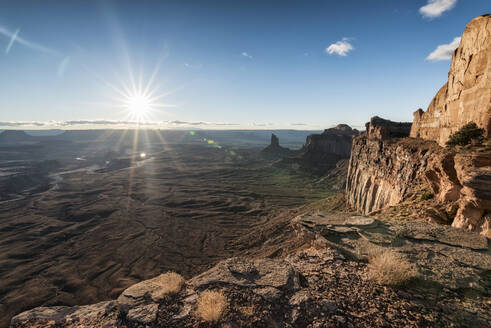 Scenic view of rock formations at Canyonlands National Park against sky - CAVF68019