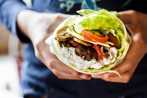 Low carb burger with salad