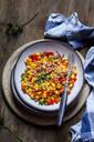 Warm corn salad with bell pepper, potatoes, diced ham - SBDF04082