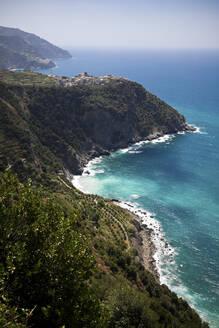 Corniglia at the Mediterranean Sea, Liguria, Cinque Terre, Italy - GIOF07387