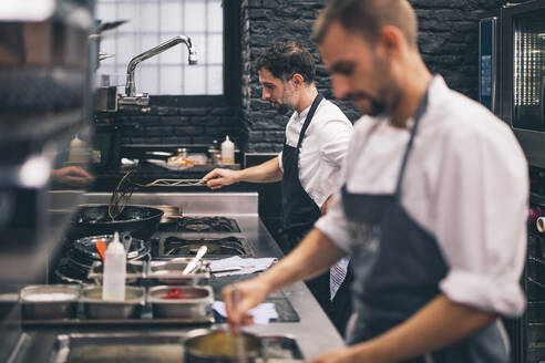 Two cooks at work in a restaurant kitchen - OCMF00859