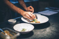 Cook serving food on a plate in the kitchen of a restaurant - OCMF00862