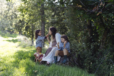 Pregnant mother with two kids having a picnic in the countryside - SODF00338