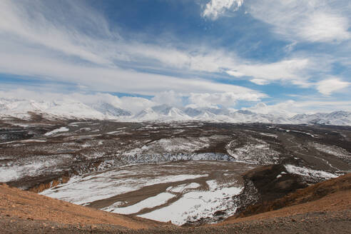 High angle view of mountains against cloudy sky at Denali National Park - CAVF68343