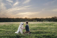 Boy with dog on grassy field against cloudy sky during sunset - CAVF68445
