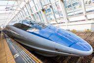 Blue Shinkansen Bullet Train at the platform of Tokyo Station, Japan. - MINF12864