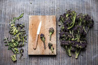 High angle close up of purple sprouting broccoli, knife and wooden cutting board. - MINF13287