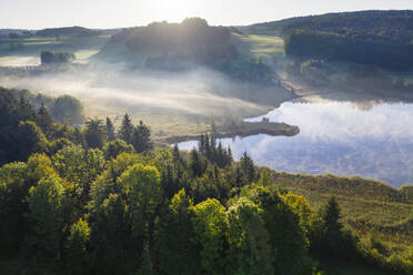 Germany, Bavaria, Upper Bavaria, Toelzer Land, Harmating, View of pond in landscape in morning light and mist - SIEF09306