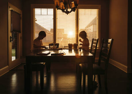 Boys eating while sitting at dining table - CAVF69231