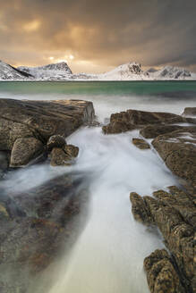 Haukland Beach in winter, Lofoten, Nordland, Norway, Europe - RHPLF12902