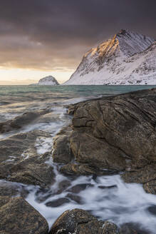 Sunset at Haukland Beach in winter, Lofoten, Nordland, Norway, Europe - RHPLF12905