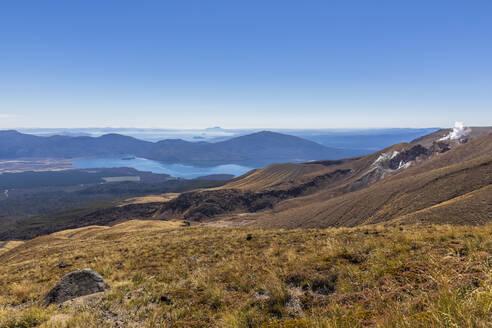 New Zealand, Oceania, North Island, Tongariro National Park, North Island Volcanic Plateau, Tongariro Alpine Crossing Trail, Lake Rotoaira and Lake Taupo, path to Ketetahi Hut, Te Maari Crater, steam from the Ketetahi Hot Springs  - FOF11149